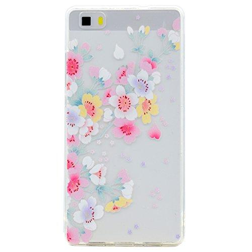 Pour Huawei P8 Lite Case Cover, Ecoway TPU Clear Soft Silicone Back Dream Rose Housse en silicone Housse de protection Housse pour téléphone portable pour Huawei P8 Lite - fleurs de cerisier