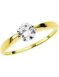 Amor Damen-Ring Solitär 333 Gelbgold glänzend Zirkonia weiß