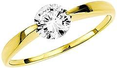Idea Regalo - Amor - Anello in oro giallo con zirconia, donna, bianco, 18