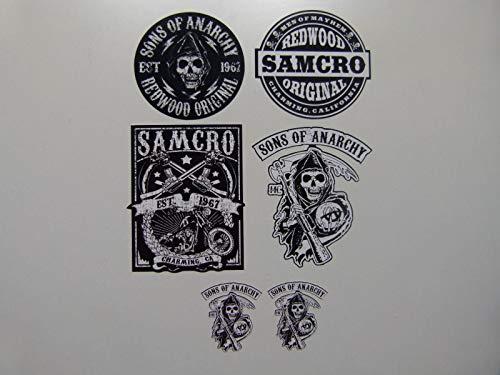 MG602 / Aufkleber Set - Breite je Sticker ca. 5,5cm Biker Motorrad Club Motorcycles Rocker Chopper Old School SOA Sons of Anarchy Samcro Vintage Retro Custom Skull Bobber Chopper (Aufkleber Custom)