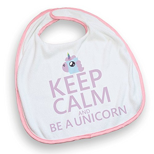 Bavoir rose Keep calm and be a unicorn. Licorne pastel, chibi et kawaii - Fabriqué en France - Chamalow Shop