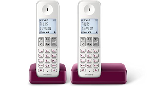 Philips D2302WP/23 - Telefonos inalámbricos duo con altavoz (manos libres, bloqueo de llamadas) color blanco y ciruela
