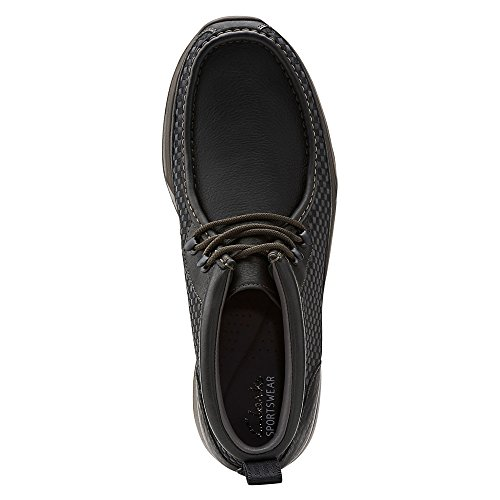 Clarks Tawyer Stealth punta rotonda in pelle Chukka Boot Black