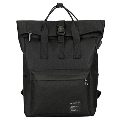 YFbear Roll-Top Rucksack – Hochwertiger Wasserfester Backpack mit Rollverschluss – Praktischer Daypack,Uni-Schulrucksack, Laptoptasche mit USB Charge Port Backpack für Damen und Herren (Schwarz)