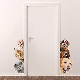 3D Cartoon Katzen hund Aufkleber Wanddeko Abziehbilder Wandsticker Wandtattoo für Kühlschrank, Toilette,Wohnung,schlafenzimmen (A)