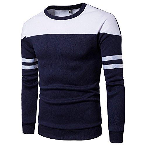 Xmiral Herren Pullover Sweatshirt Gestreiftes, langärmliges Patchwork-Oberteil Outwear Bottoming Shirt(L,Marine Blau) -