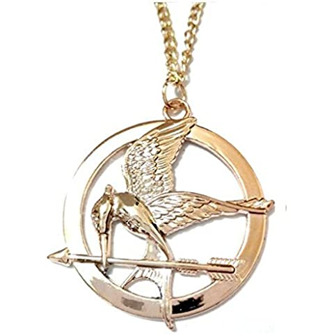 COLLAR MOCKINGJAY BURLÁNDOSE PÁJARO HUNGER OF ARROW Y GAMES RACING RALLY GAME COLOR ORO HUNGER GAMES LA NIÑA POR FUEGO - PÁJARO CON