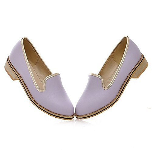 COOLCEPT Femmes Mode A Enfiler Escarpins Bloc Talon bas Chaussures Violet
