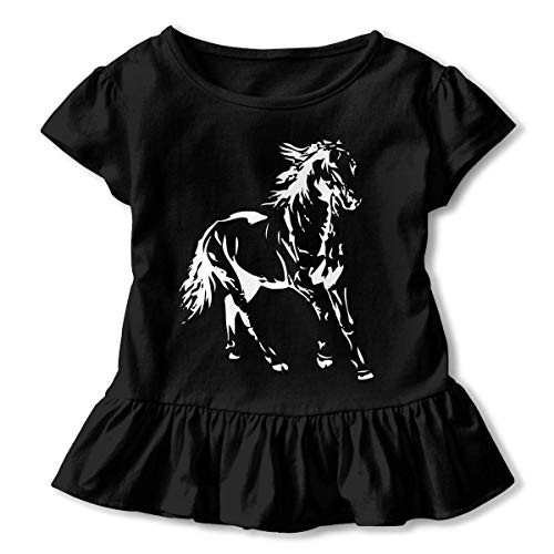 Little Girls' White Horse Funny Short Sleeve Cotton T Shirts Basic Tops Tee Clothes