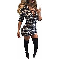 Auxo Mujeres Mini Vestido Camisero Manga Larga Cuadros Escocesa Cuello V Codones en Pecho Blanco&negro ES 38/ASIA M