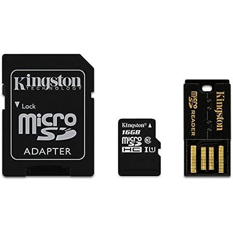 Kingston 16GB Multi Kit - Tarjeta microSDHC de 16 GB con adaptador y lector USB 2.0, negro