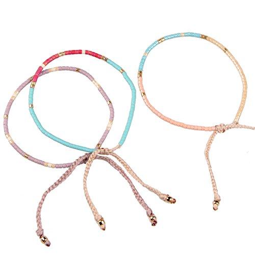 *KELITCH Armband MischFarbe Rocailles Perlen Zart Schnur Freundschaftsarmbänder für Mädchen Damen – 3 Stück #24*