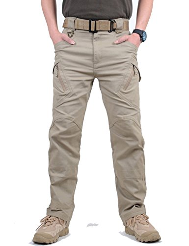 MAGCOMSEN Herren Draussen Dauerhaft Multi Taschen Entspannt-Fit Taktisch Cargohosen Arbeitshose Khaki XL - Mens Tactical Hose Khaki