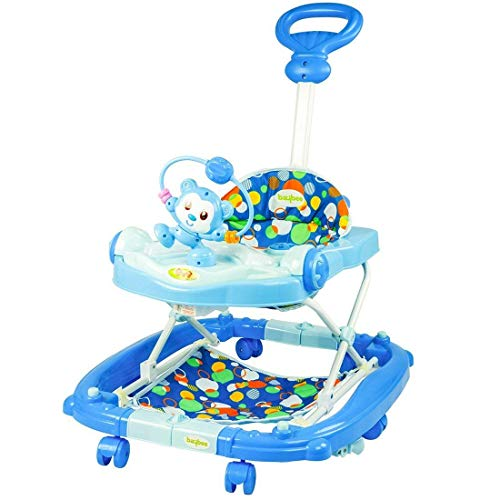 GoodLuck Baybee - Stylish Round Baby Musical Walker with 3 Position Height Adjustable with Control Push Bar Kids Walker for Babies/Childs (Blue)