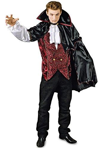 Vampir Kostüm Marius mit Umhang - Dracula für Herren Gr. 46 ()