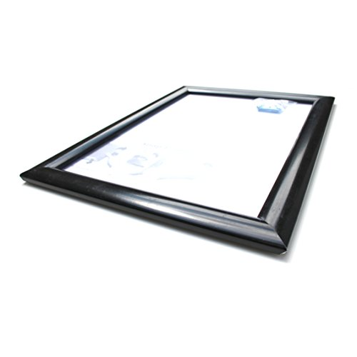 Four X Ninety A0 Black Snap Frame to easily change photo / advert with frame still hanging -  32mm Mitred Corners and Security / Safety Perspex Glazing