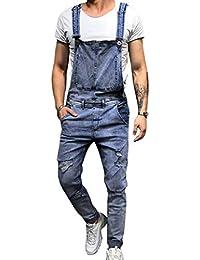 Vertvie Homme Combinaison Pantalon en Jeans Troué Déchirée Salopette  Overall Délavé Denim Pantalon… 529564faa342