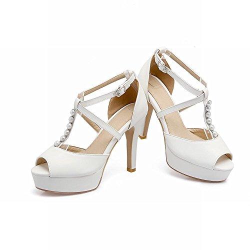 Mee Shoes Damen high heels Peep toe Plateau T-Strap Sandalen Weiß