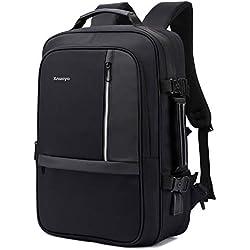 Xnuoyo 17.3 Pouces Sac à Dos Ordinateur Portable, Extensible TSA Sac à Dos d'affaires avec Chargeur USB et Port de Casque (Noir)