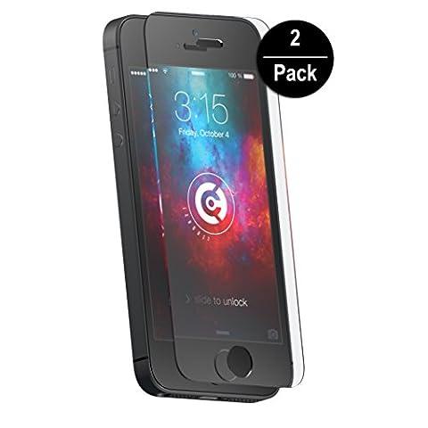 2x cTRON21® Panzerglas Schutzfolie iPhone SE 5S 5 5C Folie Hartglas 9H Anti-Bläschen Panzerfolie Displayschutzfolie transparent