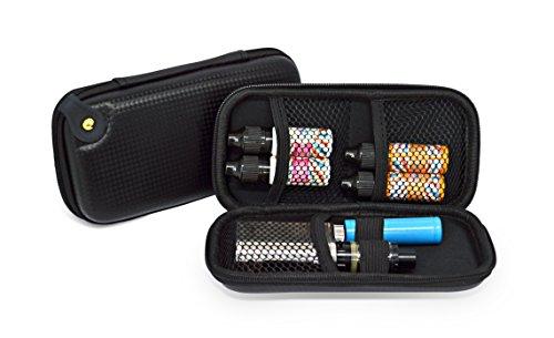 E-Zigarette Tasche | Dampfer-Etui zur Aufbewahrung von Liquid, elektronischer Zigarette und Zubehör | Inklusive Akku Halterung und Vape Gurt | Schwarz