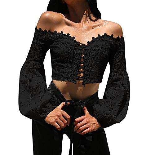 ✿✿JiaMeng Trägerlos Mode Strand Blusen Damen süße Spitze Oberteile weich Casual Tops Sommer bauchfrei Shirt (Regenbogen Hell Girl Kostüm)