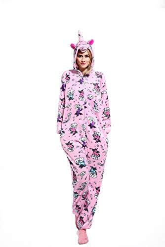Hycomell Unicorn Onesie Pajamas Winter Warm Soft Flannel Pyjamas 3D Cartoon Animal Style Costume Hooded Jumpsuit for Women Girls Cosplay Idear Gift in Chrismas Halloween Novelty Costume