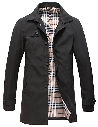 Pinkpum Herren Mantel Trenchcoat Jacke Übergangsjacke Sweatjacke Überzieher Lange Jacken (Schwarz 01, L)
