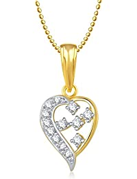Valentine Gifts Meenaz Heart Pendant With Chain Silver Plated For Girls And Women PS162