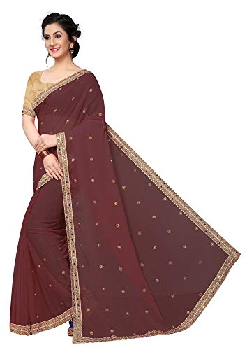 Indian Women's Georgette with Stone Style Sari with Blouse Piece Diamond Queen Coffee