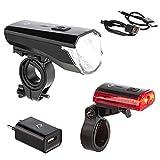 Rohtar LED Fahrradbeleuchtungsset - USB - wiederaufladbar - Lithiumbatterie - 50 Lux – Fahrradbeleuchtung vorne und hinten - Rücklicht – Vorderradlicht – Fahrradlicht – StVZO zugelassen