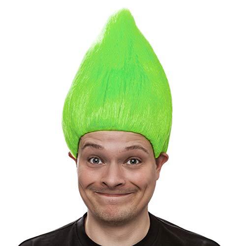 NET TOYS Farbenfrohe Troll-Perücke für Erwachsene | Grün | Ausgefallenes Unisex-Kostüm-Zubehör Zwerg | EIN Blickfang für Karneval & ()