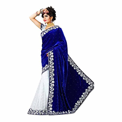 Indian Handicrfats Export Embroidered Kanjivaram Net, Velvet, Georgette, Chiffon Saree (Blue)