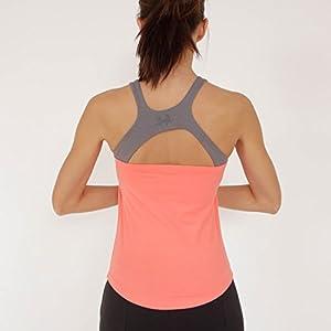 Prancing Leopard Damen Yoga, Workout Top PLATHE Ärmelloses Shirt in Bio Baumwolle – Fitness Tank mit Integriertem BH