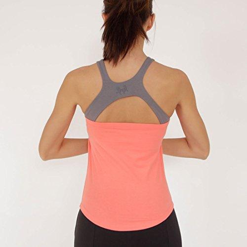 Prancing Leopard Damen Yoga, Workout Top PLATHE Ärmelloses Shirt in Bio Baumwolle - Fitness Tank mit Integriertem BH - M - Coral