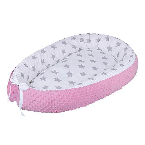 LULANDO Baby-Nest MINKY Nido bebé Reductor De Cuna Reversible Capullo Multifuncional Diferentes Colores Oeko-Tex Standard 100 Clase , Farbe:Grey Stars / Pink