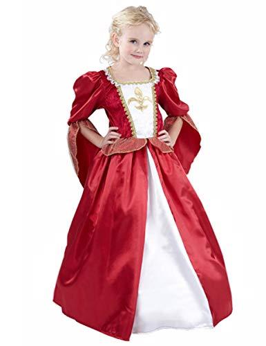 Weiße Kostüm Königin Kind - KULTFAKTOR GmbH Mittelalterliche Königin Kinderkostüm Prinzessin rot-Weiss-Gold 122/134 (7-9 Jahre)