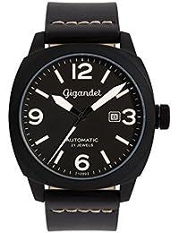 Gigandet RED BARON II Herren Automatik Fliegeruhr - Armbanduhr mit analoger Anzeige - 100m/10atm wasserdicht mit Datumsanzeige, schwarzem Lederarmband und schwarzem Zifferblatt - G9-004