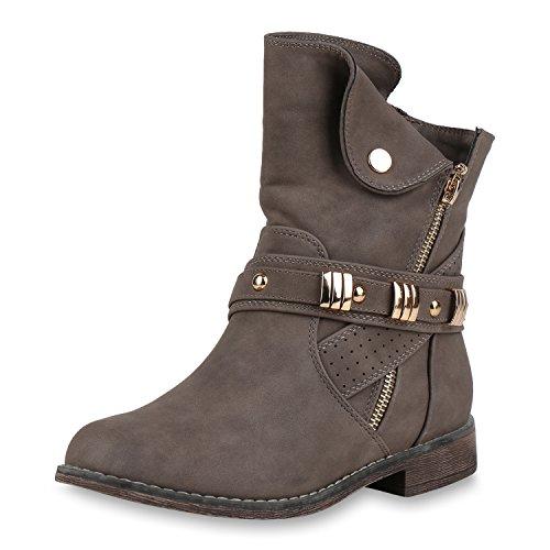 Damen Schuhe Stiefeletten Leicht Gefütterte Biker Boots Zipper Nieten Taupe Zipper 39 Jennika