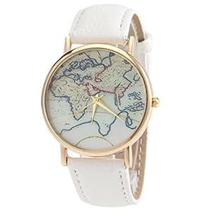 YIGOU – Retro Mapa del Mundo Reloj de Pulsera para Mujeres – Cuarzo – Beige Negro Blanco