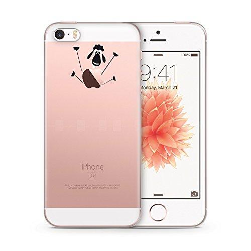 Cujas® | Transparent Premium Silikon TPU Schutzhülle Motiv Case Schutz Weich (iPhone SE / 5S / 5 Schaf)