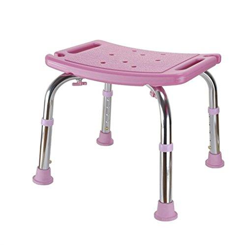 Wangzhefengfan Dusche Hocker Bad Sitz-Verstellbare Höhe Leichte Aluminiumlegierung Badezimmer Dusche Stuhl Bad Bank, Sicherheit Für Ältere Behinderte Schwangere Frauen (Color : PINK) -