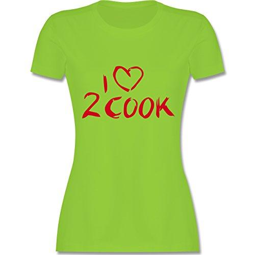 Küche - I love to Cook - tailliertes Premium T-Shirt mit Rundhalsausschnitt für Damen Hellgrün