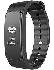 Pulsera Inteligente, LINTELEK ®Fitness Tracker con monitor del ritmo cardíaco, Podómetro,Monitor de sueño, Bluetooth 4.0,para iOS 8.0 Android 4.4,Negro