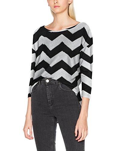 ONLY Damen Langarmshirt 15144286, Mehrfarbig (Light Grey Melange Aop:W. Black Zigzag), 36 (Herstellergröße: S)