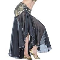Calcifer - Falda de Gasa para Danza del Vientre, Disfraz de Baile, Vestido de Baile para Mujer (Negro)