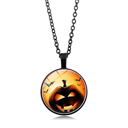 Blisfille Halloween Kürbis Zeit Edelstein Halskette Mode Anhänger Halskette Festival Herren Damen Schmuck