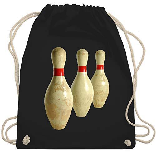 Bowling & Kegeln - Alte Pins Kegel Vintage - Unisize - Schwarz - WM110 - Turnbeutel & Gym Bag