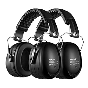 Mpow 120 Ear Defenders, 2 Pack SNR 34dB Noise Reduction Earmuffs with Soft Foam Ear Cups, Foldable Ear Defender for Hearing Protection, Shooting, Construction, Yard Work, Firework, Carry Bag included
