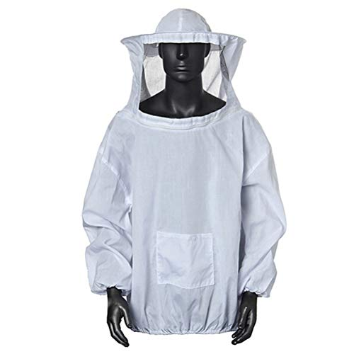 Amacoam Imkerjacke Imkerjacke mit Hut Professional Imkerbekleidung Imker Bienenzüchter Professionelle Imker Bienenschutz Hut Bienenanzug mit Reißverschluss für Bienenzüchter Bee Keepers (Weiß)